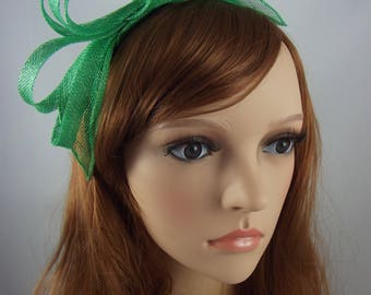 Mint Green Sinamay Loop & Leaf Fascinator with Feathers - Occasion Wedding Races