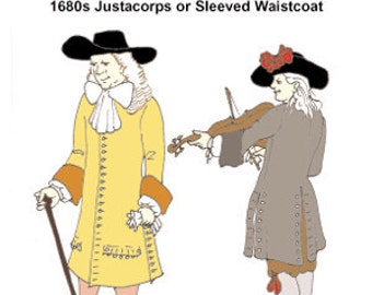 1680s Justacorps or Sleeved Waistcoat Pattern