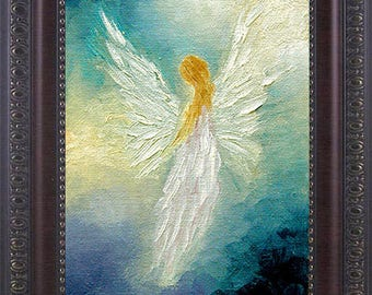 Angel Art Print, Angel, Angel Print Framed, Spiritual Gift, Guardian Angel, Signed Print, Wall Decor, Home Decor,