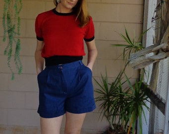 Vintage Knit Sweater Blouse / Red with black Piping Shirt / Small