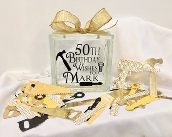 50th Birthday Wish Block - Wish Jar - Black and Gold Themed with Tools to write wishes on