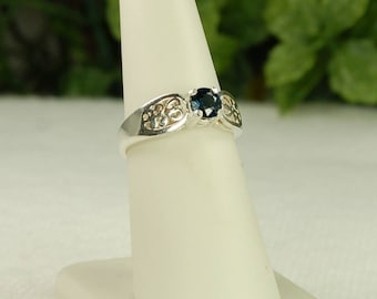 Sapphire Ring, Size 7, Deep Blue, Sterling Silver, September Birthstone, Sapphire Solitaire, Blue Sapphire, Natural Sapphire