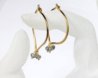 Labradorite Earrings, Gemstone Hoops, 24K Gold Vermeil Earrings, Medium or Large, Gifts for Her, Bridal, Hand forged, MiShelli
