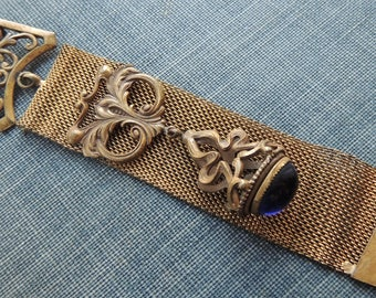 Ladies Filigree Mesh Watch Chain Fob / Vintage Watch Pin / Vintage Victorian Watch Chain /Mesh Watch Chain / Vest Chain Fob / Steampunk Pin