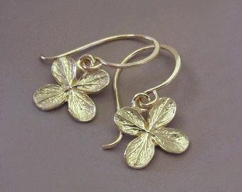 14k Yellow Gold Earrings, Hydrangea Flower, Free Shipping, Gardening Gift