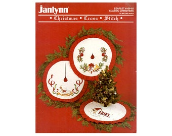 "Mini Tree Skirts Cross Stitch Leaflet, Christmas Decorations, Christmas Tree Skirts Pattern, 18"" Tree Skirts Cross Stitch, NewYorkTreasures"