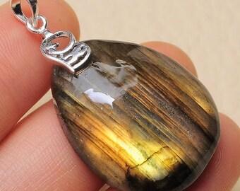 "Natural Labradorite  sterling silver  1.5"" pendant (#J1620)"