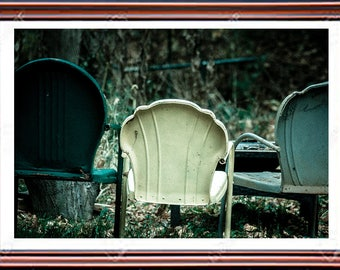 Vintage Chairs, Fine Art Photography, Home Décor, Wall Art, Free Shipping, American,  Abstract, Summer, Color Photography