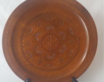 Vintage Carved/Engraved Wood Plate/Tray