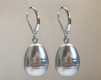 Silvertone Light Gray Baroque 14mm Drop Earrings