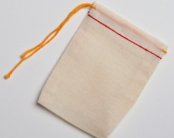 100 3x4 Natural Cotton Muslin Red Hem and Orange Drawstring Bags