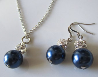 Wedding jewelry, wedding jewelry for brides, bridal jewelry, wedding jewelry for bridesmaids, bridal jewelry, navy blue pearl set, pearl