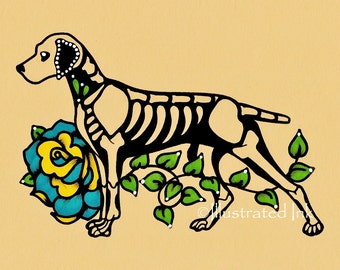 Day of the Dead WEIMARANER Dog Dia de los Muertos Art Print 5 x 7, 8 x 10 or 11 x 14 - Choose your own words - Donation to Austin Pets Alive