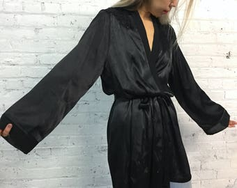 vintage black silky robe / beaded floral embellished cover up / black satin kimono robe