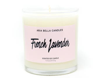 Lavender Candle - Gift for Mom Candle - Floral Soy Candle - French Lavender - Phthalate Free - Non Toxic - Millennial Pink - White