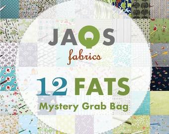 Mystery Grab Bag - 12 Fat Quarter Cool Bundle - Seller Assortment of Fat Quarter Cotton Print Fabric