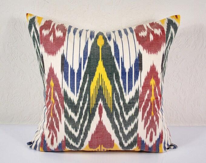 Ikat Pillow, Handmade Ikat Pillow Cover  IP8 (A508), Ikat throw pillows, Designer pillows, Ikat Pillow, Decorative pillows, Accent pillows