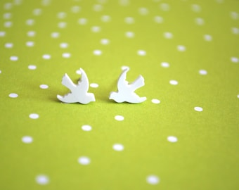 White Dove Earrings -- Tiny Dove Studs, Tiny Dove Earrings, White Doves, Birds