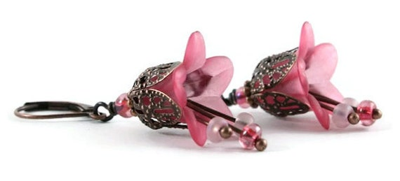 Pink lily flower and antique copper leverback earrings (162)