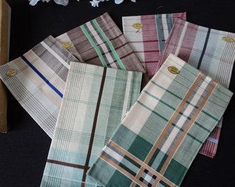 French vintage set of six Tissgar pure cotton men's handkerchiefs in original box (06223)