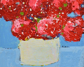 Red & Blue Cottage Chic Floral Art Painting. Red Roses Flowers Painting. Floral Art Gift for Mom. 165