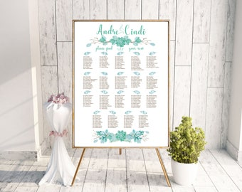 Wedding Seating Chart - Watercolor Succulent - Rustic Floral Leaves and Twigs - Blue Green - Printable - Digital File