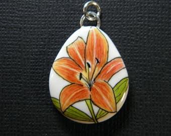 Lily Ink Art Pendant-original ink art-handcrafted