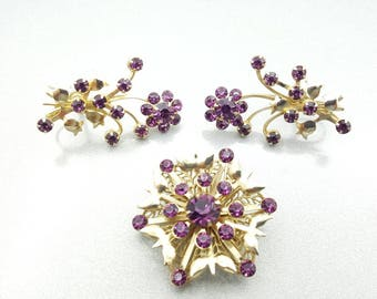 Beau Jewels Style  Mid Century  Brooch and Ear Climber Screw back earrings Purple in gold tone