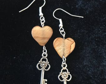 Mother of pearl heart and key earrings Mother's Day