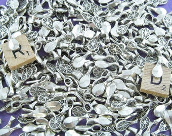 200 Waterdrop Bails - 17x7mm - Antique Silver Color - Small Glue On Bails - For Scrabble and Glass Pendants - 11/16 x 1/4 inch 17mm x 7mm