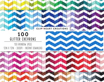 100 Glitter Chevron Paper, Digital Paper, Commercial use, rainbow, glittered paper, digital scrapbooking paper, glittered scrapbooking paper