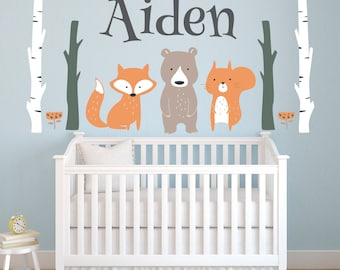 Woodland Wall Decal - Personalized Name Wall Decal - Woodland Animals Wall Art - Nursery Wall Decor - Fox Bear Forest Animals Wall Decal