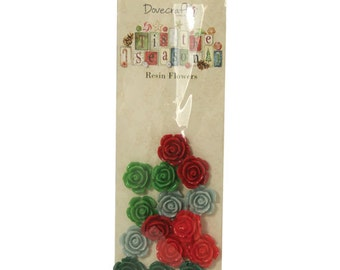 Christmas Craft Embellishments Resin Flowers in red and green by Dovecraft ideal for Christmas Card Crafts or Projects