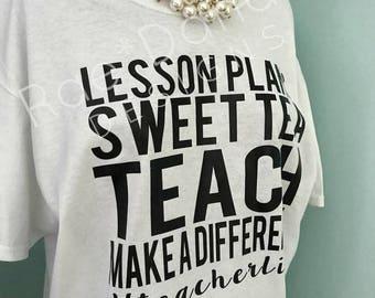 Custom Teacher Tee Size L   Rae Danae Designs....Vinyl Design....Teacher Life....SAMPLE Sale...TEACH...Back To School