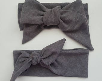 Gray Headwrap & Topknot Wrap