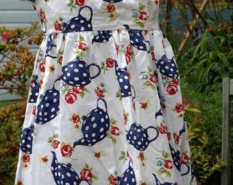Summer Dress, White & Blue Teapots - Handmade