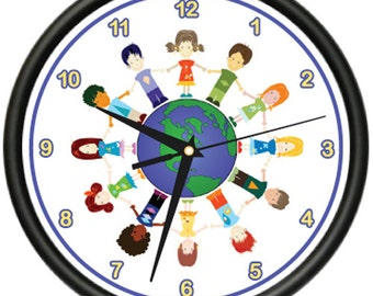 Peaceful Children Around The World Wall Clock Classroom