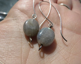 Handmade & Formed Earrings - Natural Labradorite Gemstone w/ Silver