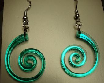 Thin Nautilus / Spiral Acrylic Earrings
