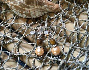 One of a kind Nice N Nautical Tiger eye and apricot pearl earrings