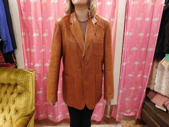 Men's Beautiful Butter leather 1970 coat/ Men's/ unisex/ Wilson brand/hipster 8kStszaK