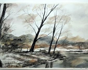 Autumn Watercolor Painting, Home Decor, Wall Decor, Large Painting, Landscape Painting, Original Painting, Aquarelle Painting, Art