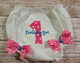 Girls 1st Birthday Diaper Cover - Baby Girl Diaper Cover - Embroidered Baby Bloomers - Hot Pink and Turquoise - Photo Prop