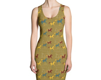 Cute Horse Dress, Carousel Stretch Dress, Gold Form Fitted Dress