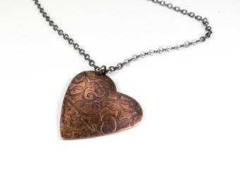 Mother's Day Gift, Copper Heart Necklace, Antique Copper Heart Pendant, Hammered Copper Jewelry, Hand Forged Copper Jewellery