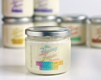 Buttercream & Sprinkles ~ Highly Scented Handmade Soy Jar Candle, Vanilla