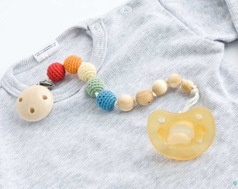 Rainbow Pacifier Clip - Organic Cotton, Juniper Wood - Dummy Holder, Teething Pacifier Clip - PC07