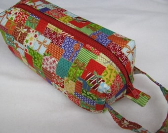Christmas Present Delivery - Surprise embroidery Inside - Cosmetic Bag Makeup Bag LARGE
