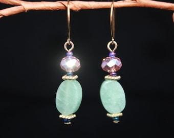 Jade Earrings,  Oval Jade Birthday Earrings,  Faceted Czech Glass Earrings,  Dangle Gift Earrings,  Gemstone Earrings,  Hypoallergenic
