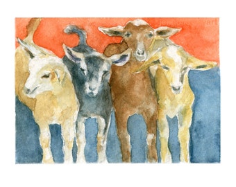 Watercolor Goats, Goats Print, Goat Art, Goat Painting, Goats, Farm Animals